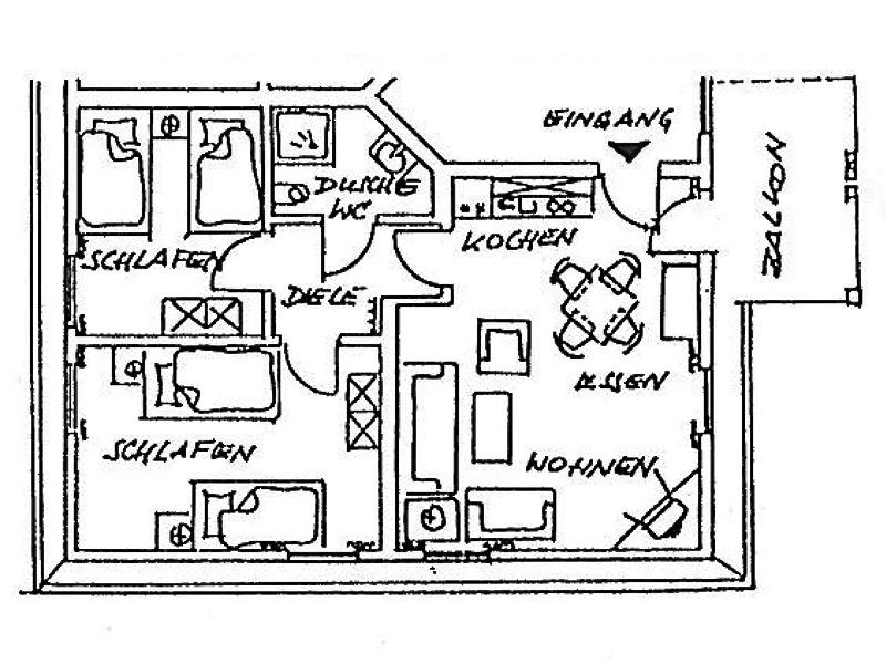 ferienhaus meyer ferienwohnung 6 mit 60 qm f r 2 4 personen. Black Bedroom Furniture Sets. Home Design Ideas